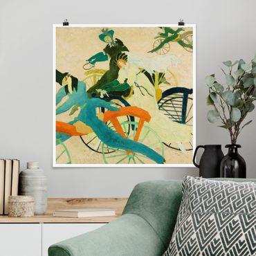 Poster - Lyonel Feininger - Draisinen-Fahrer - Quadrat 1:1