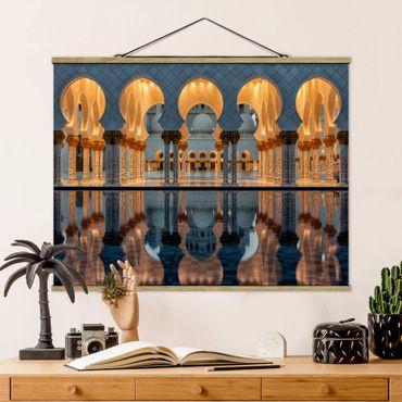 Stoffbild mit Posterleisten - Reflexionen in der Moschee - Querformat 4:3