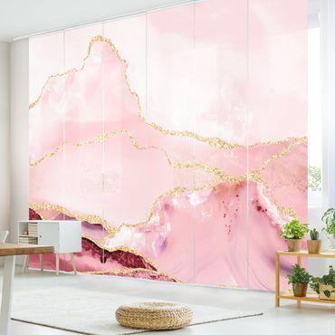 Schiebegardinen Set - Abstrakte Berge Rosa mit Goldene Linien - 6 Flächenvorhänge