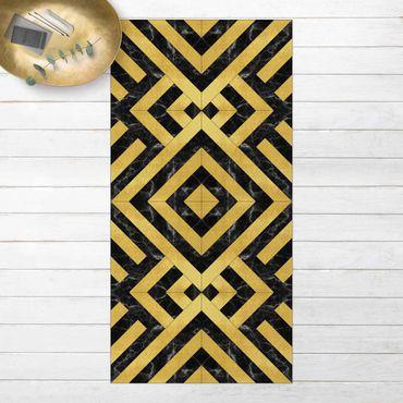 Vinyl-Teppich - Geometrischer Fliesenmix Art Deco Gold Schwarzer Marmor - Hochformat 1:2