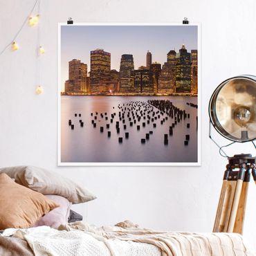 Poster - Blick auf Manhattan Skyline - Quadrat 1:1
