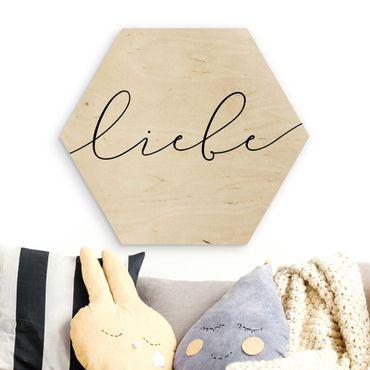 Hexagon Bild Holz - Liebe Kalligraphie