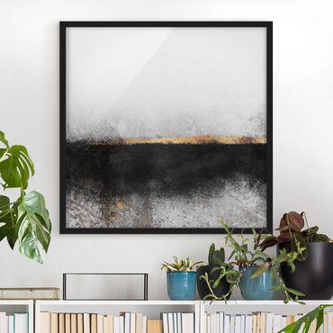 Bild mit Rahmen - Abstrakter Goldener Horizont Schwarz Weiß - Quadrat 1:1
