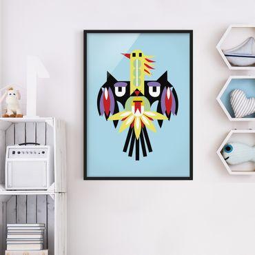 Bild mit Rahmen - Collage Ethno Monster - Flügel - Hochformat 4:3