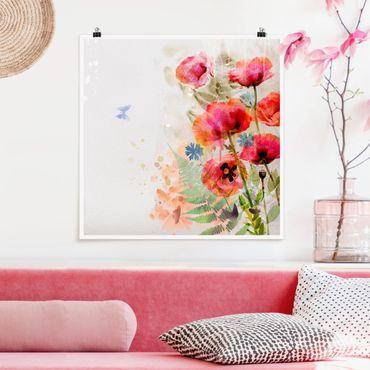 Poster - Aquarell Blumen Mohn - Quadrat 1:1
