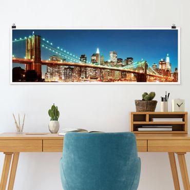 Poster - Nighttime Manhattan Bridge - Panorama Querformat
