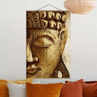 Stoffbild mit Posterleisten - Vintage Buddha - Hochformat 3:2