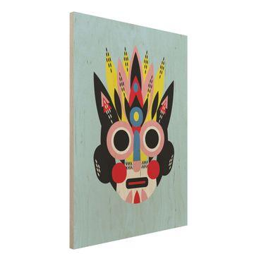 Holzbild - Collage Ethno Maske - Gesicht - Hochformat 4:3