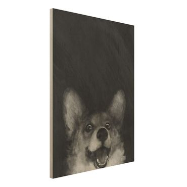 Holzbild - Illustration Hund Corgi Malerei Schwarz Weiß - Hochformat 4:3