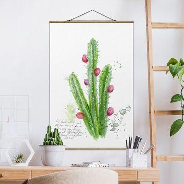 Stoffbild mit Posterleisten - Kaktus mit Bibelvers II - Hochformat 3:2