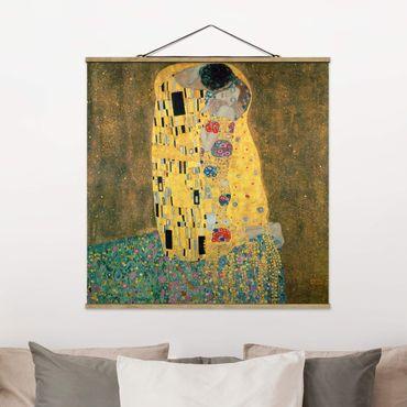Stoffbild mit Posterleisten - Gustav Klimt - Der Kuß - Quadrat 1:1