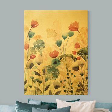Leinwandbild Gold - Wildblumen im Sommer II - Hochformat 3:4