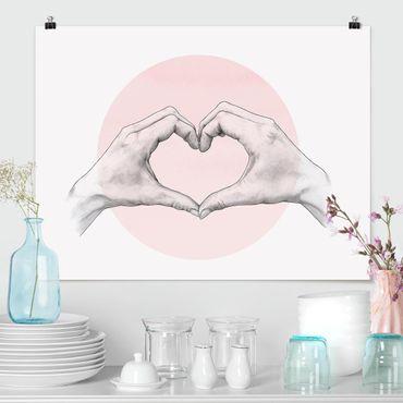 Poster - Illustration Herz Hände Kreis Rosa Weiß - Querformat 3:4