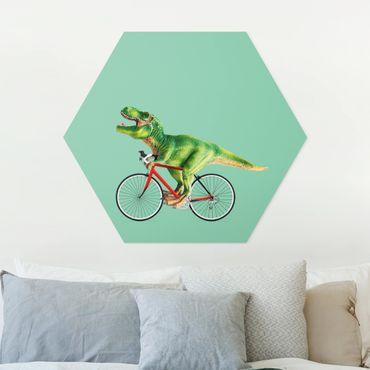 Hexagon Bild Forex - Jonas Loose - Dinosaurier mit Fahrrad