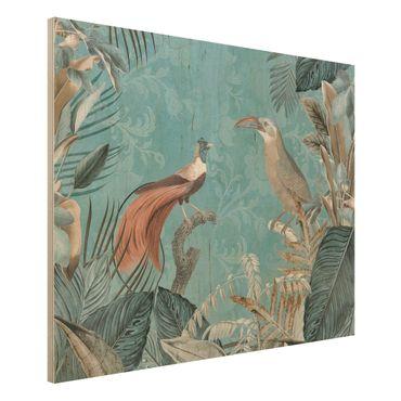 Holzbild - Vintage Collage - Paradiesvögel - Querformat 3:4