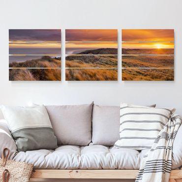 Holzbild 3-teilig - Sonnenaufgang am Strand auf Sylt - Quadrate 1:1