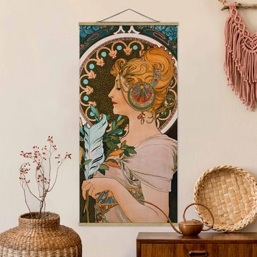 Stoffbild mit Posterleisten - Alfons Mucha - Die Feder - Hochformat 1:2
