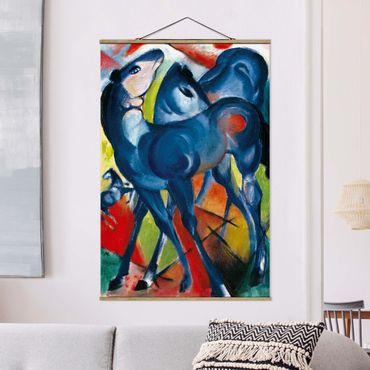 Stoffbild mit Posterleisten - Franz Marc - Die Blauen Fohlen - Hochformat 2:3