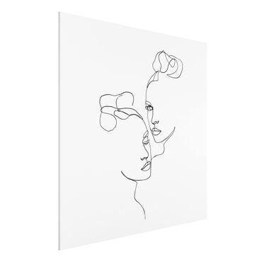 Forex Fine Art Print - Line Art Gesichter Frauen Schwarz Weiß - Quadrat 1:1