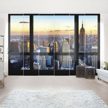 Schiebegardinen Set - Fensterausblick - Sonnenaufgang New York - Flächenvorhänge