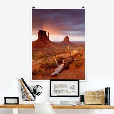Poster - Monument Valley bei Sonnenuntergang - Hochformat 3:4
