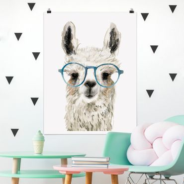 Poster - Hippes Lama mit Brille III - Hochformat 3:4