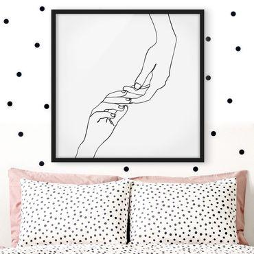 Bild mit Rahmen - Line Art Hände Berührung Schwarz Weiß - Quadrat 1:1