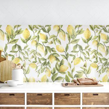 Küchenrückwand - Fruchtige Zitronen mit Blättern