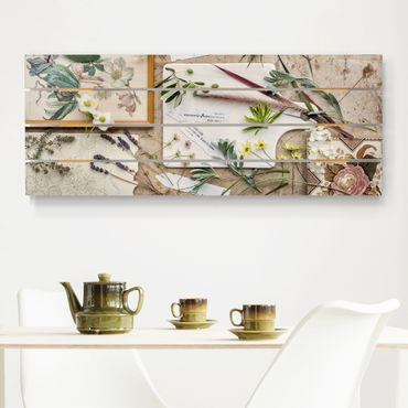 Holzbild - Blumen und Gartenkräuter Vintage - Querformat 2:5