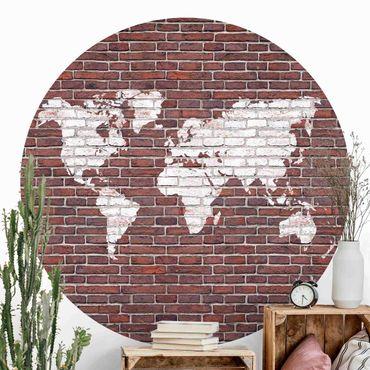 Runde Tapete selbstklebend - Backstein Weltkarte