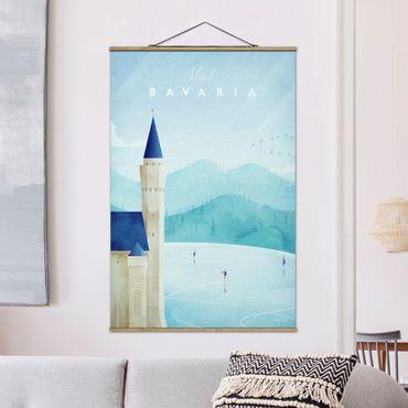 Stoffbild mit Posterleisten - Reiseposter - Bavaria - Hochformat 3:2