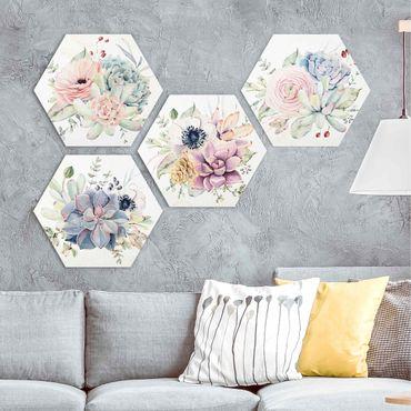 Hexagon Bild Forex 4-teilig - Aquarell Blumen Landhaus