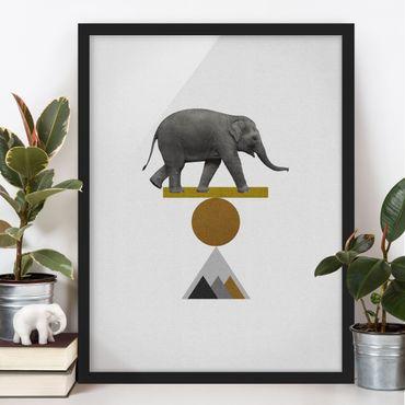 Bild mit Rahmen - Balancekunst Elefant - Hochformat