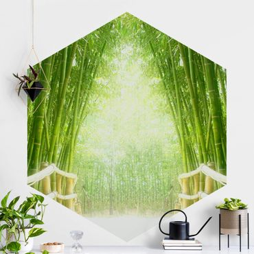 Hexagon Mustertapete selbstklebend - Bamboo Way