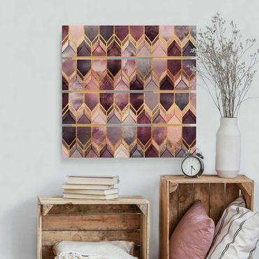 Holzbild - Elisabeth Fredriksson - Glasmalerei geometrisch Rosé Gold - Quadrat 1:1