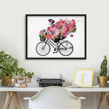 Bild mit Rahmen - Illustration Frau auf Fahrrad Collage bunte Blumen - Querformat 3:4