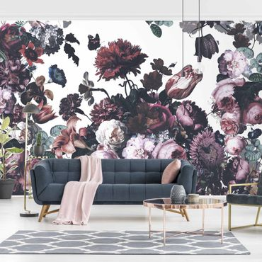 Tapete selbstklebend - Altmeisterlicher Blumenrausch mit Rosen Bouquet - Fototapete Querformat