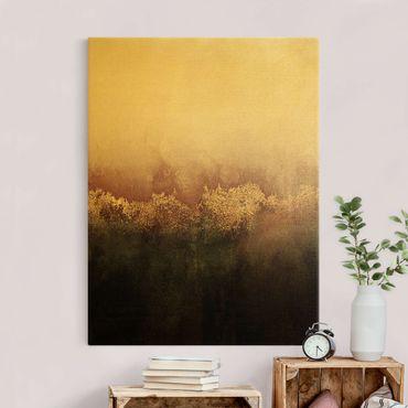 Leinwandbild Gold - Goldene Dämmerung Rosa - Hochformat 3:4