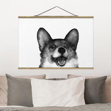 Stoffbild mit Posterleisten - Laura Graves - Illustration Hund Corgi Weiß Schwarz Malerei - Querformat 3:2