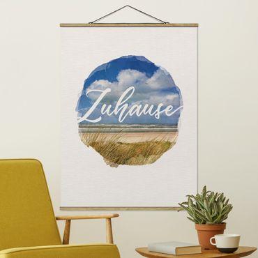 Stoffbild mit Posterleisten - Wasserfarben - Zuhause - Hochformat 4:3