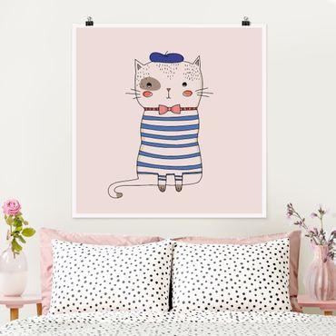 Poster - Katze in Frankreich - Quadrat 1:1