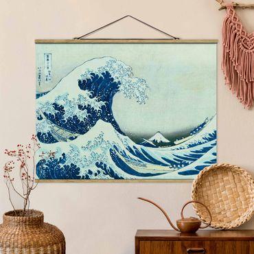 Stoffbild mit Posterleisten - Katsushika Hokusai - Die grosse Welle von Kanagawa - Querformat 4:3