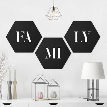 Hexagon Bild Forex 3-teilig - Buchstaben FAMILY Weiß Set I