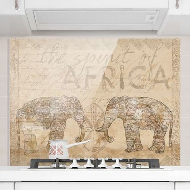 Spritzschutz Glas - Vintage Collage - Spirit of Africa - Querformat 3:4
