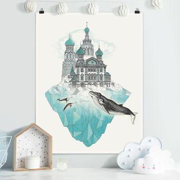 Poster - Illustration Kirche mit Kuppeln und Wal - Hochformat 4:3