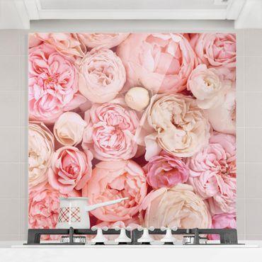 Spritzschutz Glas - Rosen Rosé Koralle Shabby - Quadrat 1:1
