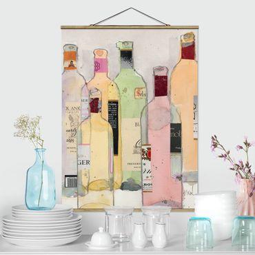 Stoffbild mit Posterleisten - Weinflaschen in Wasserfarbe I - Hochformat 3:4