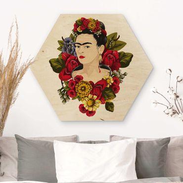 Hexagon Bild Holz - Frida Kahlo - Rosen