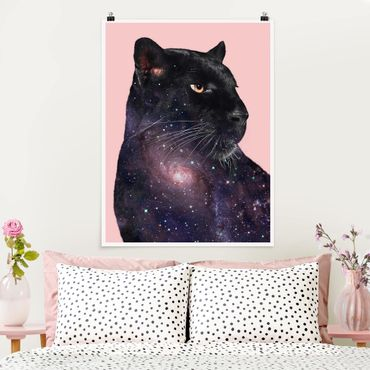 Poster - Jonas Loose - Panther mit Galaxie - Hochformat 3:4