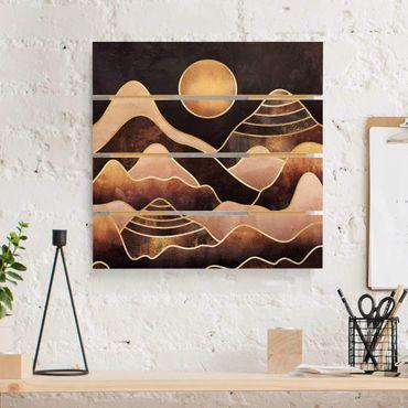 Holzbild - Elisabeth Fredriksson - Goldene Sonne abstrakte Berge - Quadrat 1:1